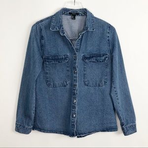 FOREVER 21 Denim Button Up Shirt Shacket Small
